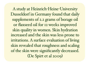 A study at Heinrich-Heine-University Dusseldorf in Germany found that daily supplements of 2.2 grams of borage oil or flaxseed oil for 12 weeks improved skin quality in women. Skin hydration increased and the skin was less prone to irritations. A surface evaluation of living skin revealed that roughness and scaling of the skin were significantly decreased. (De Spirt et al 2009)